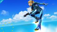 Samus Zero propulsándose con sus botas SSB4 (Wii U)