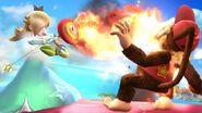 Estela usando la Flor de fuego contra Diddy Kong SSB4 (Wii U)