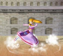 Ataque Smash hacia abajo de Zelda (2) SSBM