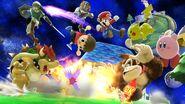 Bowser, Aldeano, Link, Mario, Fox, Donkey Kong, Kirby y Pikachu en Galaxia Mario SSB4 (Wii U)
