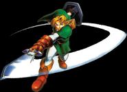 Art oficial de Link usando el ataque circular Ocarina of Time