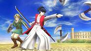 Link junto a Takamaru SSB4 (Wii U)