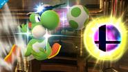 Yoshi lanzando un huevo a la Bola Smash SSB4 (Wii U)
