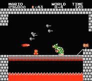 Bowser lanzando martillos en Super Mario Bros.