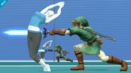 Entrenadora de Wii Fit esquivando un ataque SSB4 (Wii U)