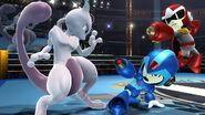 Mewtwo y dos Tiradores Mii con atuendos de DLC en el Cuadrilátero SSB4 (Wii U)