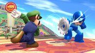 Luigi regresando un ataque a Mega Man SSB4 (Wii U)