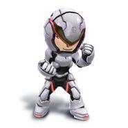 Artwork de la Karateka Mii con el casco y la armadura bionica