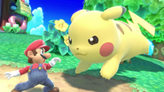 Pikachu y Mario en la Isla Tórtimer SSBU