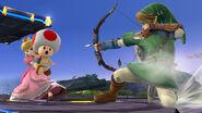Link apuntando a Peach en el Campo de Batalla - (SSB. for Wii U)