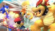 Sonic, Bowser, Lucas y Ness luchando en Onett SSB4 (Wii U)