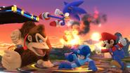 Mega Man, Mario, Donkey Kong y Sonic en el Campo de Batalla SSB4 (Wii U)