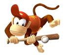 Pegatina de Diddy Kong en Mario Superstar Baseball SSBB