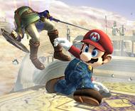 Ataque fuerte hacia abajo de Mario SSBB