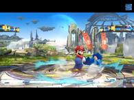 Mario usando su lanzamiento trasero contra Mega Man SSB4 (Wii U)