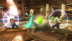 Mario y Luigi haciendo sus ataques Smash hacia arriba contra Estela SSB4 (Wii U)