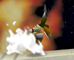 Ataque Smash hacia arriba de Fox SSB