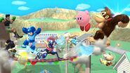 Daraen, Little Mac, Greninja, Rosalina, Donkey Kong, Kirby, Olimar y Megaman en Onett SSB4 (Wii U)