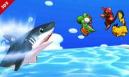 Yoshi junto a Diddy Kong y Pikachu en la playa de la Isla Tórtimer SSB4 (3DS)