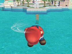 Ataque aéreo hacia abajo (3) Mario SSBB