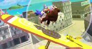 Sonic Pikachu y Donkey Kong en la Isla Pilotwings SSB4 (Wii U)