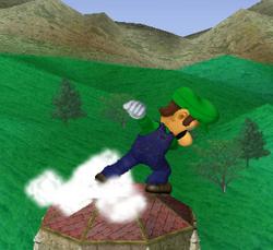 Ataque Smash hacia arriba de Luigi SSBM