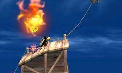 Bubble de fuego atacando a Duck Hunt en Smashventura SSB4 (3DS)