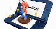Amiibo de Mario sobre una New Nintendo 3DS