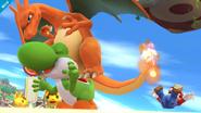 Charizard haciendo un salto banqueta sobre Yoshi SSB4 (Wii U)