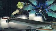 Cloud junto a Bahamut ZERO en Midgar SSB4 (Wii U)