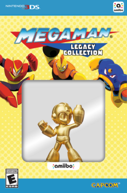 Embalaje del amiibo de Mega Man dorado (serie Legacy Collection)