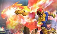 Captain Falcon usando Gancho de Fuego en el Coliseo de Regna Ferox SSB4 (3DS)