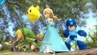Estela, Toon Link y Mega Man en el Vergel de la Esperanza SSB4 (Wii U)