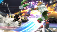 Pit Sombrío atacando a Luigi y a Fox SSB4 (Wii U)