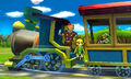 Toon Link, Link y Bigboy en el Tren de los Dioses SSB4 (3DS)