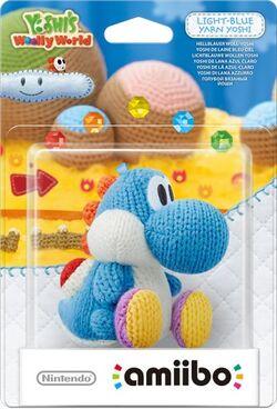Embalaje del amiibo Yoshi de lana azul claro (serie Yoshi's Woolly World)