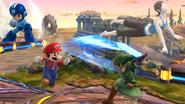 Mario, Link, Mega Man y la Entrenadora de Wii Fit en el Campo de Batalla SSB4 (Wii U)