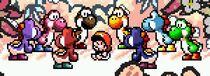 Grupo de Yoshis en SMW2 Yoshi's Island