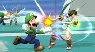 Luigi y Pit en la zona de entrenamiento SSB4 (Wii U)