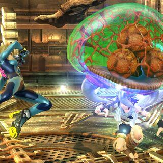 Metroide atacando a Pit en <i>Super Smash Bros. para Wii U</i>.