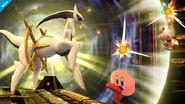 Arceus atacando a Kirby y a Olimar SSB4 (Wii U)