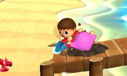 Ataque Smash hacia abajo Aldeano (2) SSB4 (3DS)