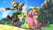 Lanzamiento hacia atrás de Peach en Super Smash Bros. (Wii U)