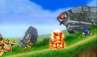 Sonic, Mario, Rey Dedede y Samus en el Smashventura