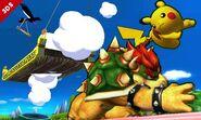 Bowser atacando a Pikachu en el Tren de los Dioses SSB4 (3DS)