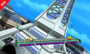 Pikachu y Olimar elevandose hacia la parte alta de la Torre Prisma - (SSB. for 3DS)