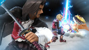 Shulk, Dunban y Riki en el Smash Final de Shulk SSB4 (Wii U)