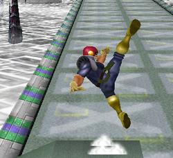 Ataque Smash hacia arriba de Captain Falcon (1) SSBM
