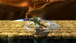 Ataque de recuperación boca abajo de Link SSB4 (Wii U)