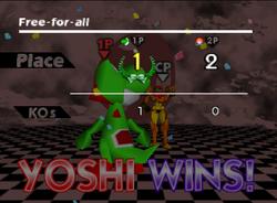 Pose de victoria de Yoshi (2-2) SSB